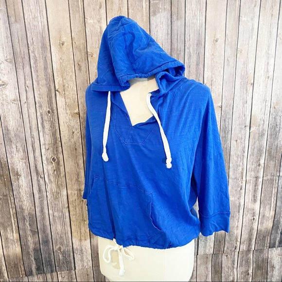 🌼AEO Cropped Pullover Hooded Sweatshirt Blue